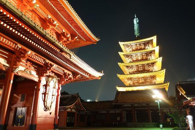 浅草駅_浅草寺本堂と五重塔